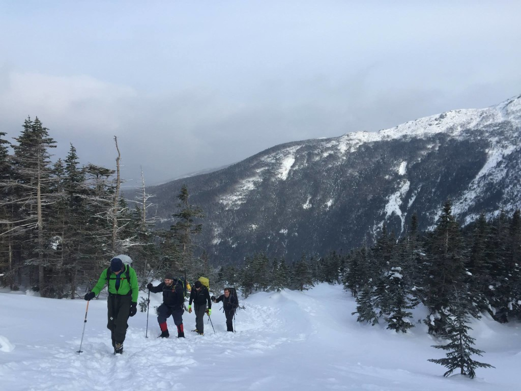 A group of mountaineers making their way up to the summit of Mount Washington in the White Mountains of New Hampshire