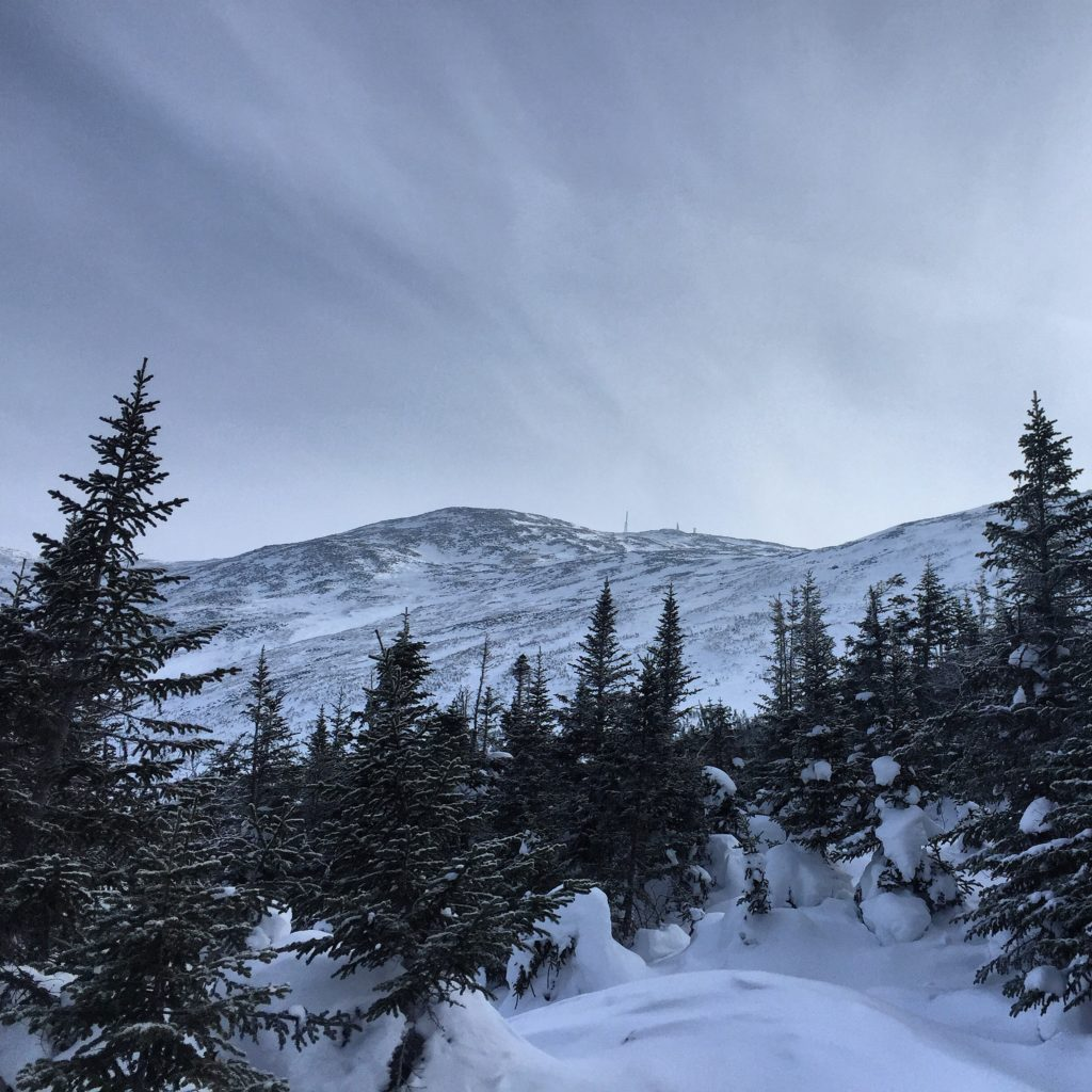 Winter ascent hiking Mount Washington NH