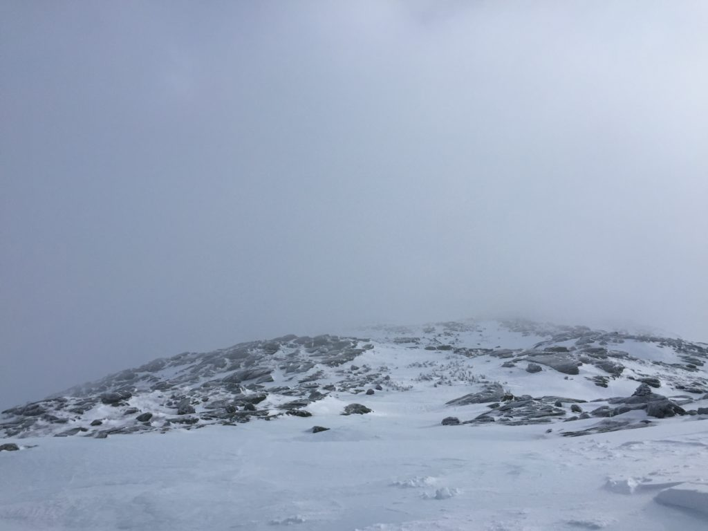 hiking from Lake of Clouds Hut toward Mount Washington NH