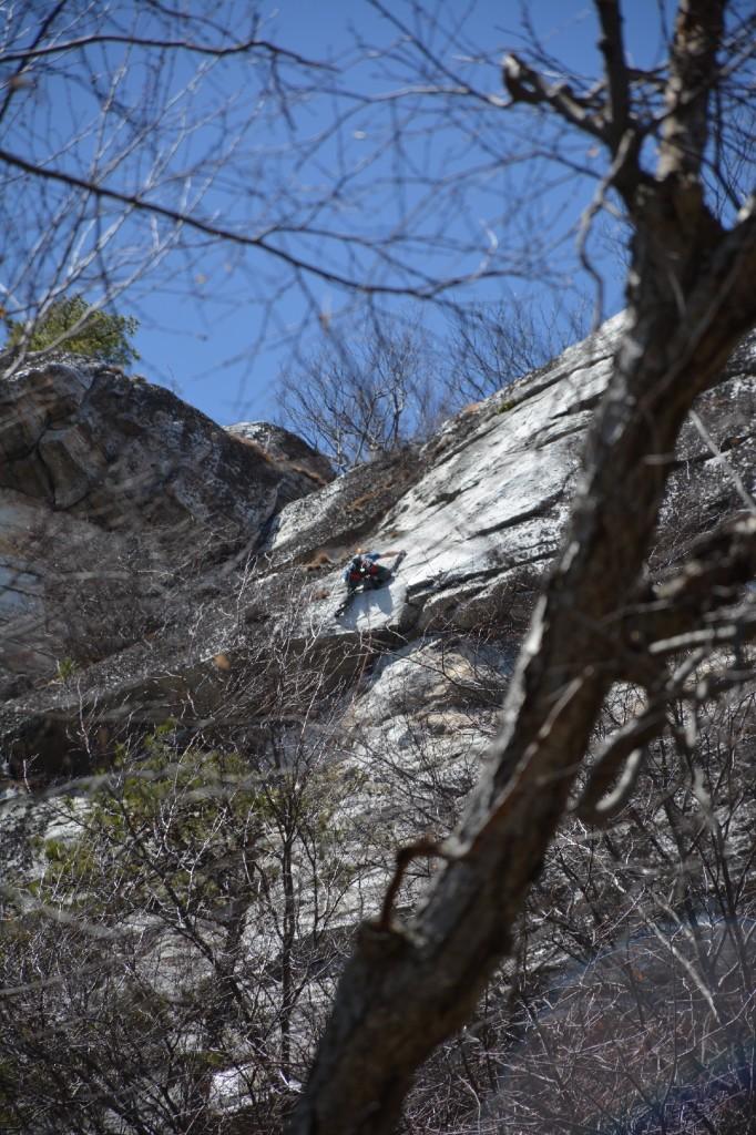 Trad climber face smaller