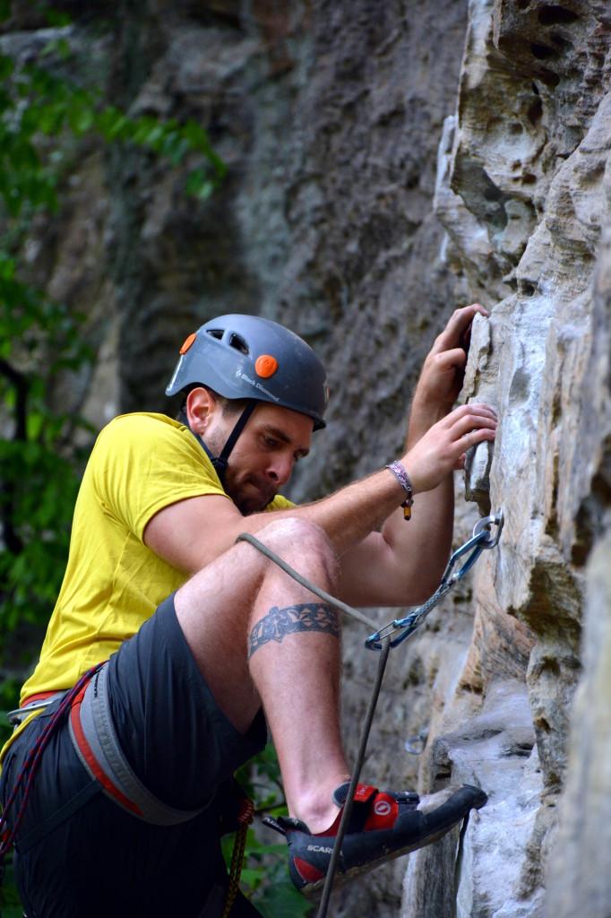 Corey climbing Plate Techtonics in Muir Valley www.TimetoClimb.com