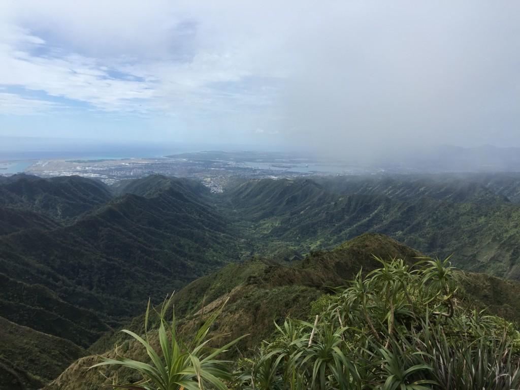 View of Moanalua Middle Ridge from the top of Ko'olau ridge