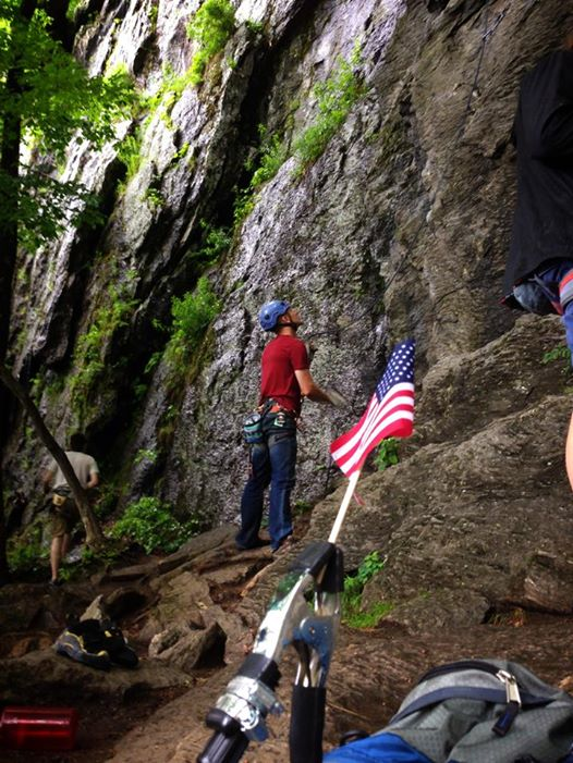 American flag climbing