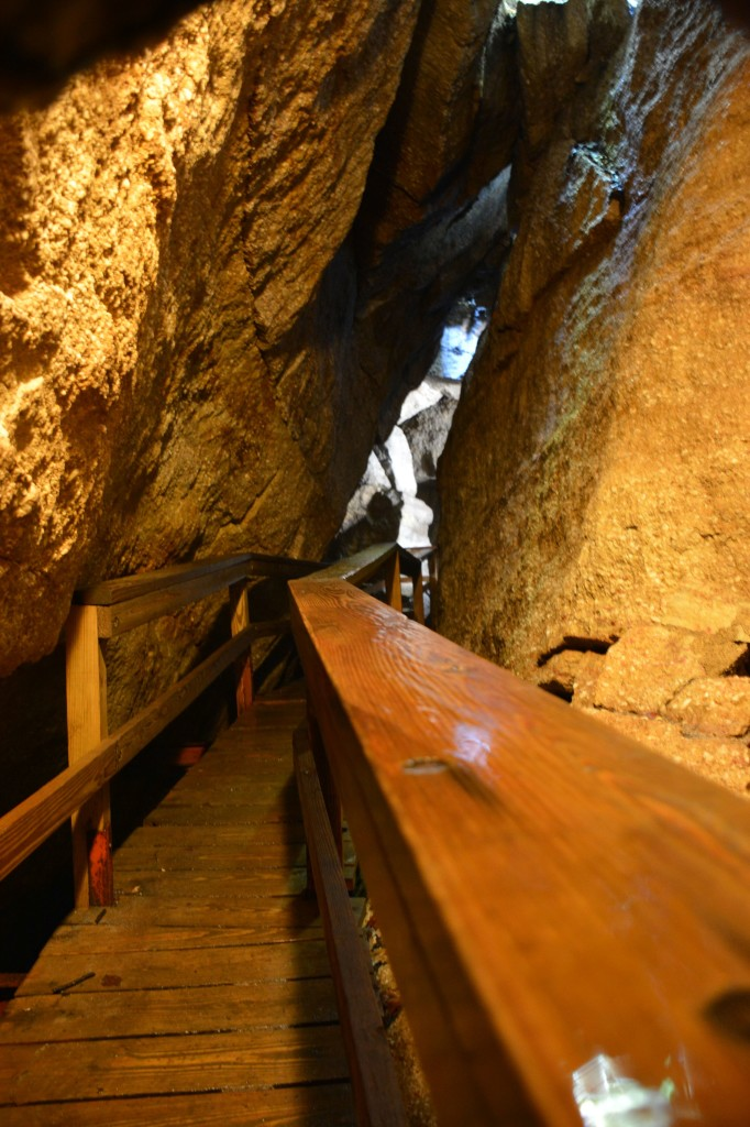 wooden walkway through the cave