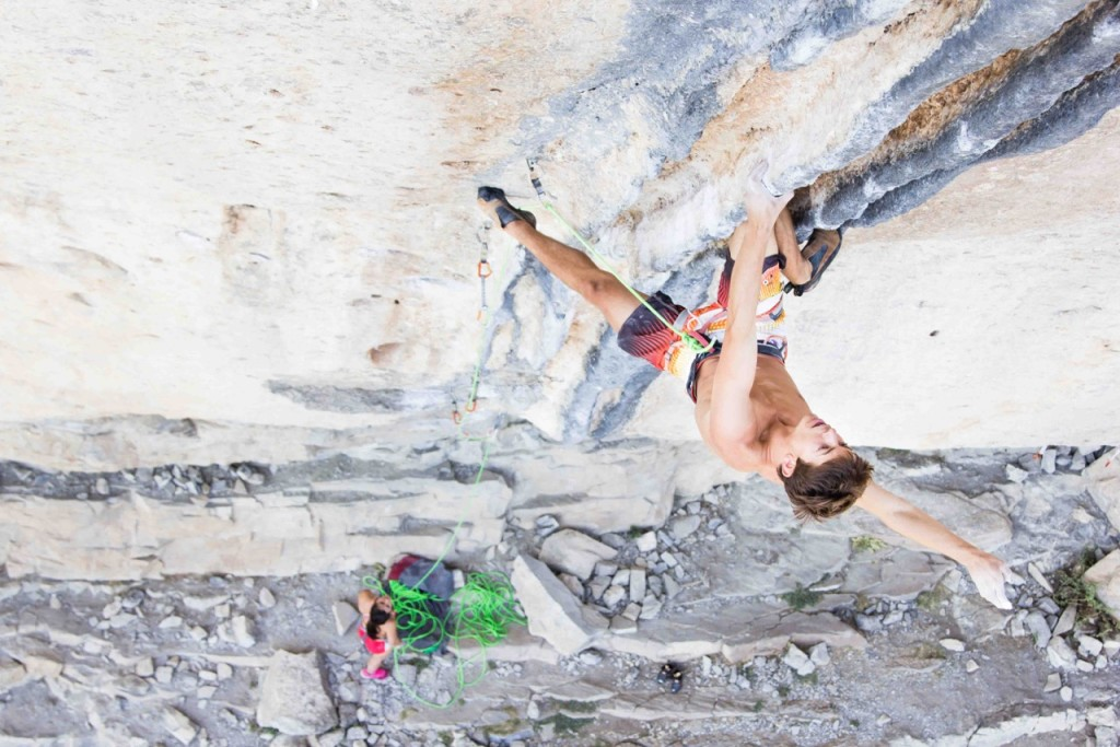 "Brieuc Deléage captures Nathan Clair shaking it out while climbing  ""Les Colonnettes"" 5.13a in Ceuse, France"