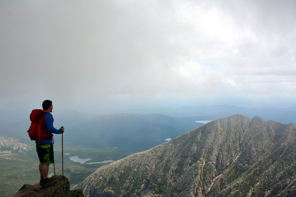 Jurgen at the summit of Katahdin looking out toward the Knife's Edge www.TimetoClimb.com