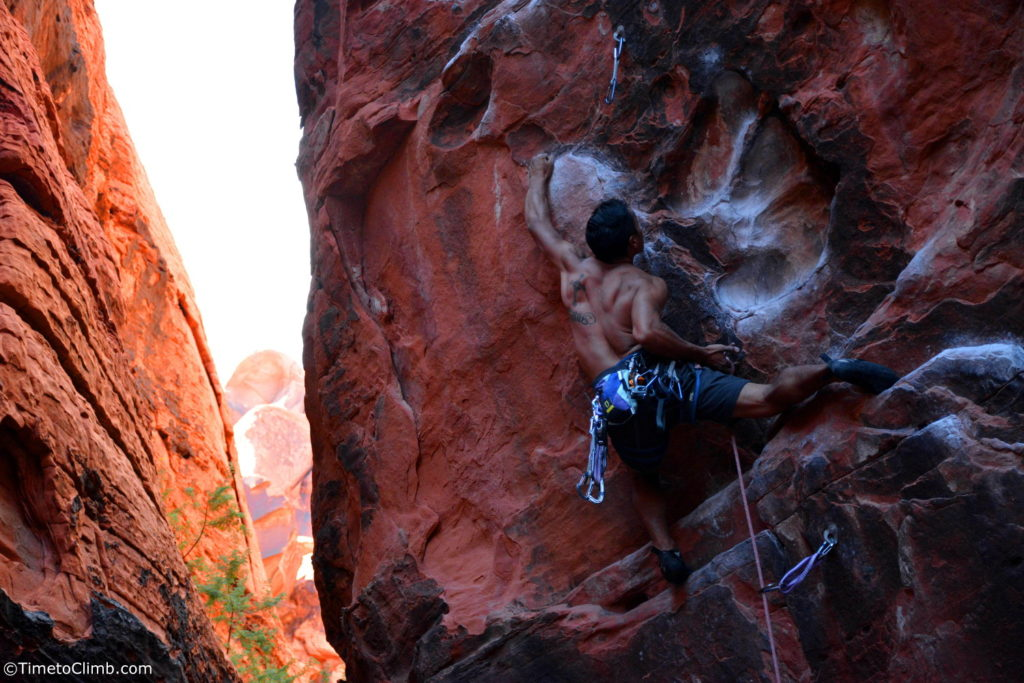 Kevin Santos rock climbing Rebel without a Pause black cooridor Red Rock Canyon Nevada