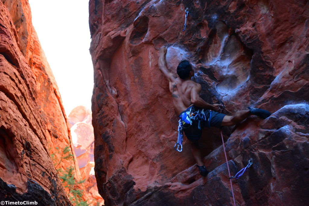 Kevin Santos sport climbing Rebel without a Pause in the Black Cooridor, Red Rocks NV