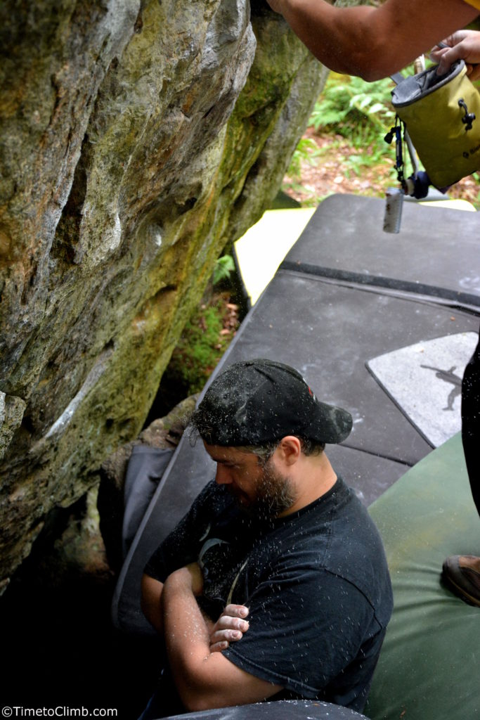 Lance geting Chalky nine corners lake bouldering adirondacks