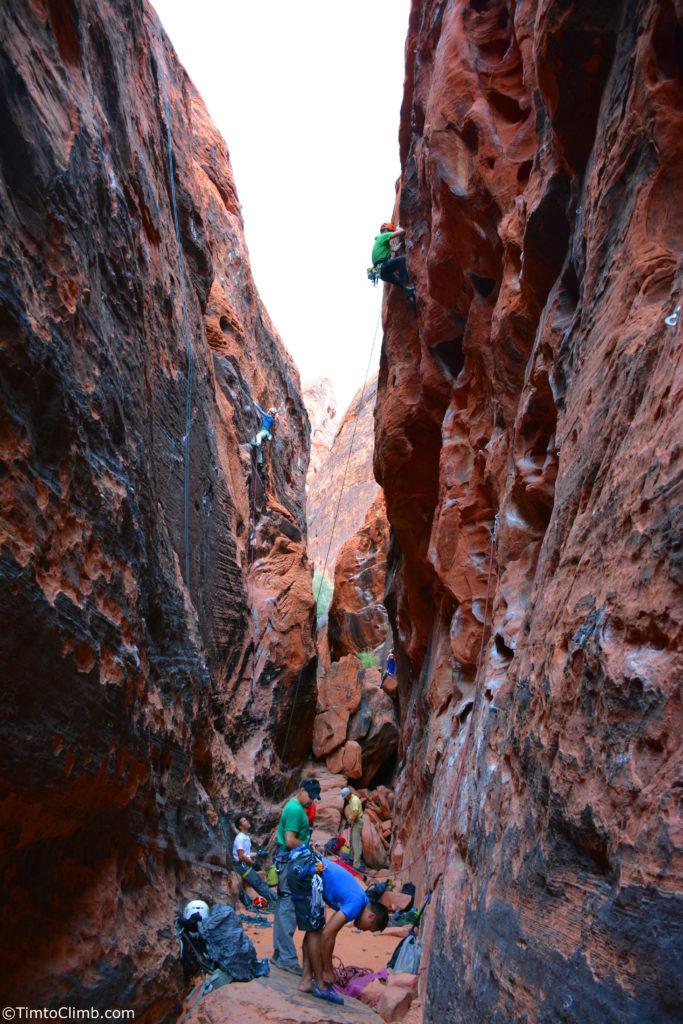 Lower level Black Corridor climbing Red Rocks NV