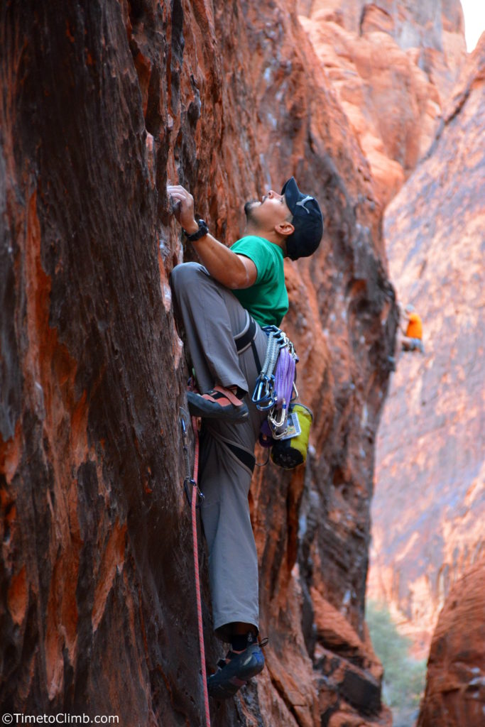 Mel Rivera rock climbing Bonaire Red Rocks NV