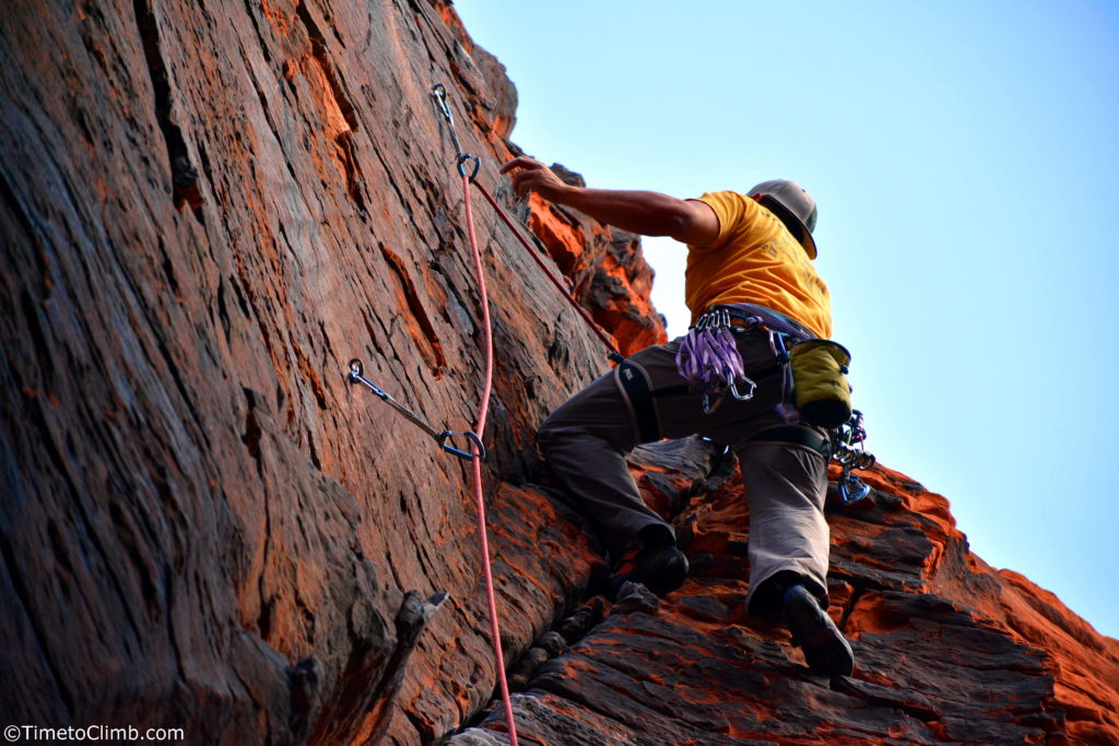 Mel Rivera sport climbing 2x4 5.7 Black Cooridor Red Rocks Nevada