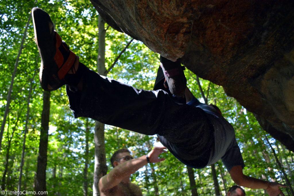 Melvin Rivera hanging out in nine corners lake climbing adirondacks