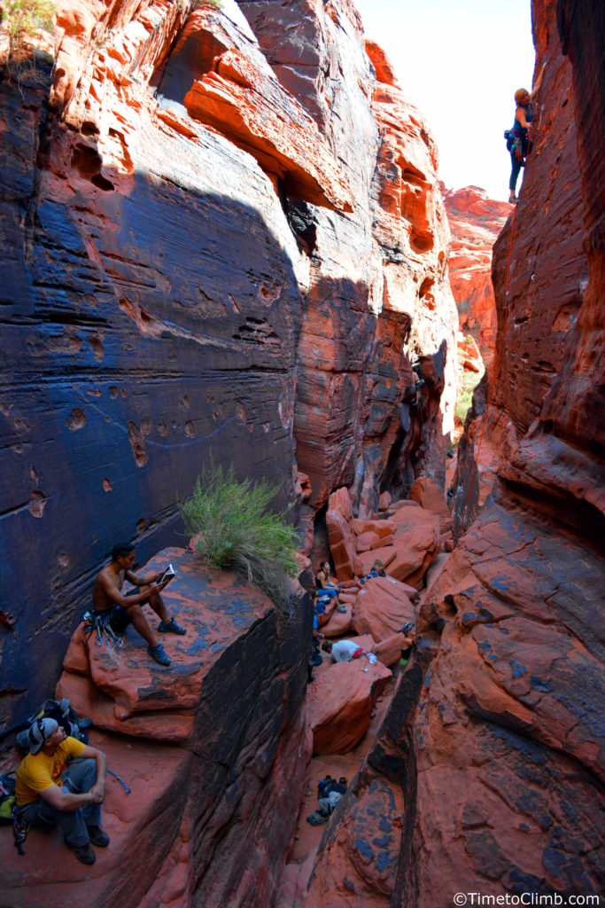 Sport climbing black cooridor Red Rocks Nevada