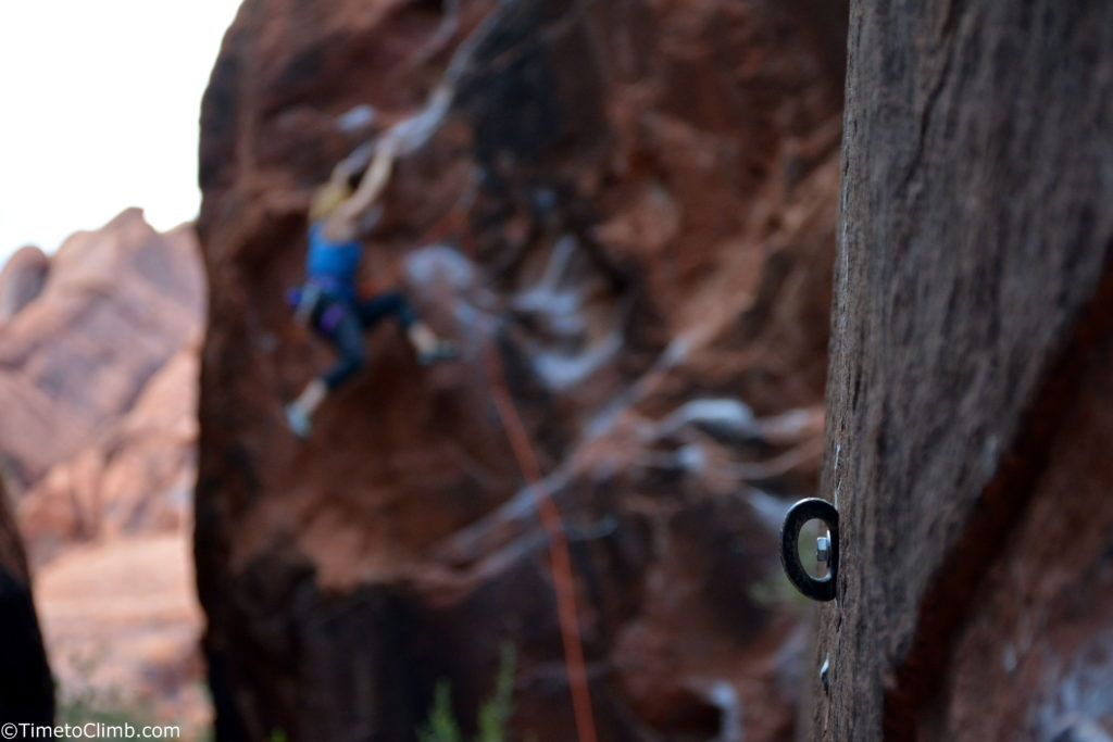 bolt while sport climbing Red Rock Canyon NV