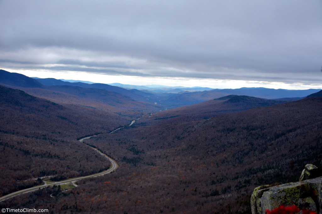 Franconia notch from the top of 5th pitch on Cannon Cliff