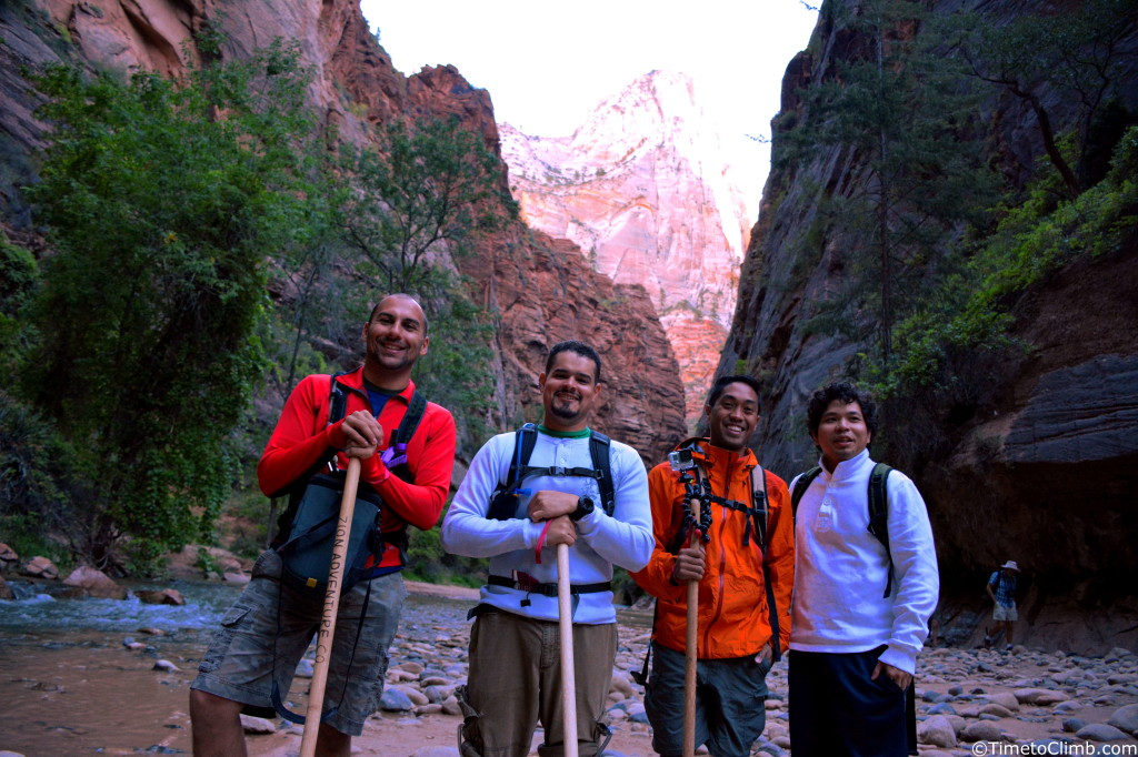 our group shot just outside the Zion narrows at Zion National Park