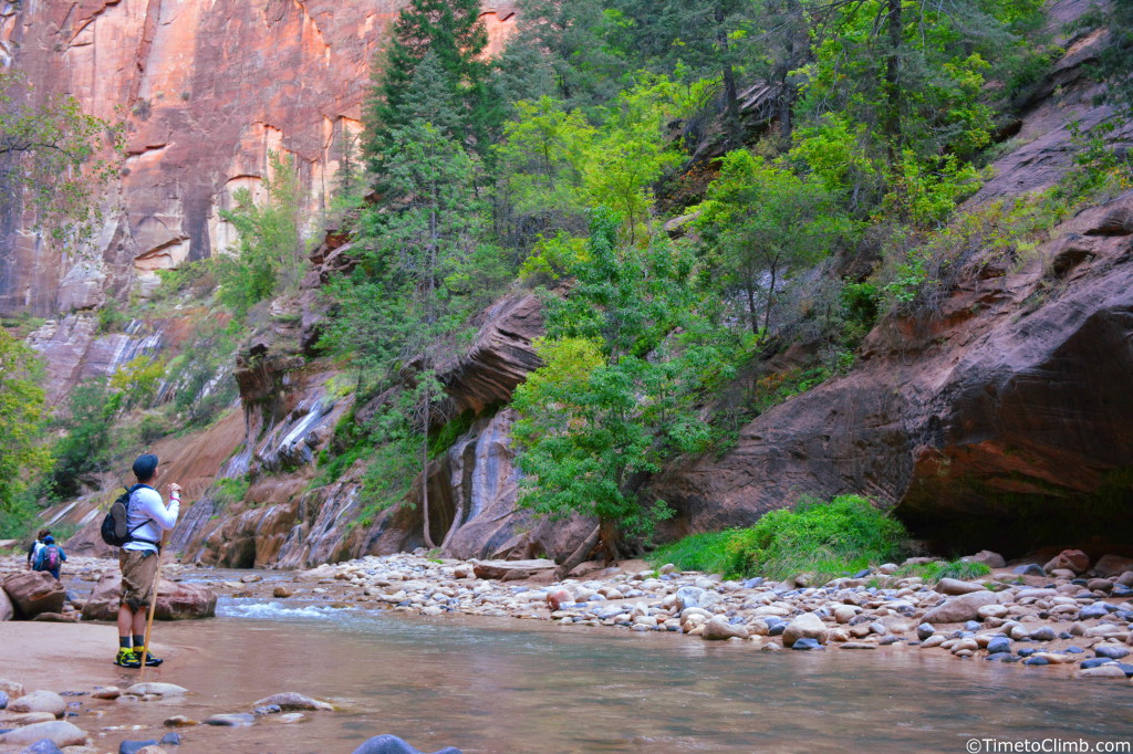 Mel looking into the Zion Narrows in Zion national park