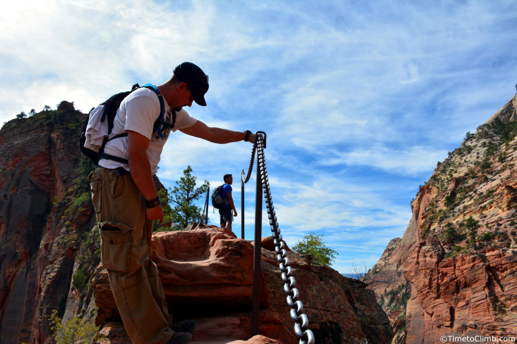 Mel on the chains while Hiking Angel's Landing in Zion National Park