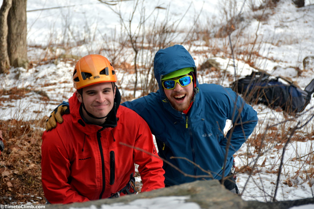 2 climbers smiling at the bottom of standard route