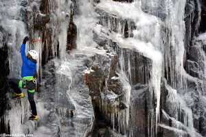 Woman climber at Mt. Washington Valley Ice fest