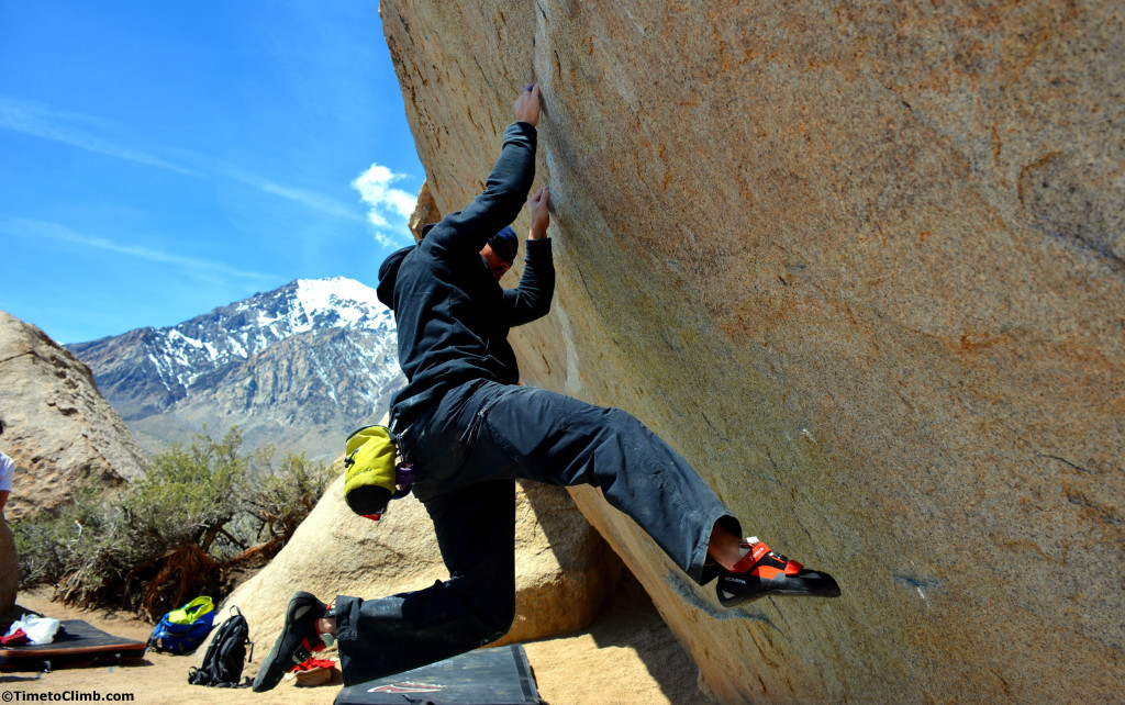 Mel bouldering Ironman Traverse in the Buttermilks in Bishop California
