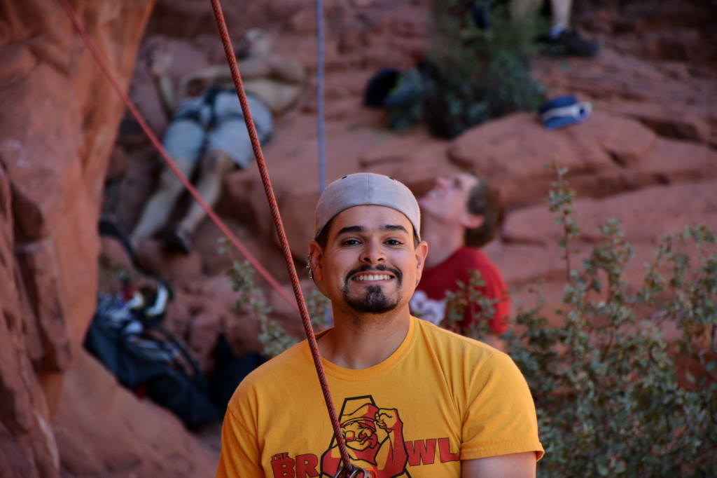 Melvin Rivera on belay in Red Rocks Nevada Time to Climb America