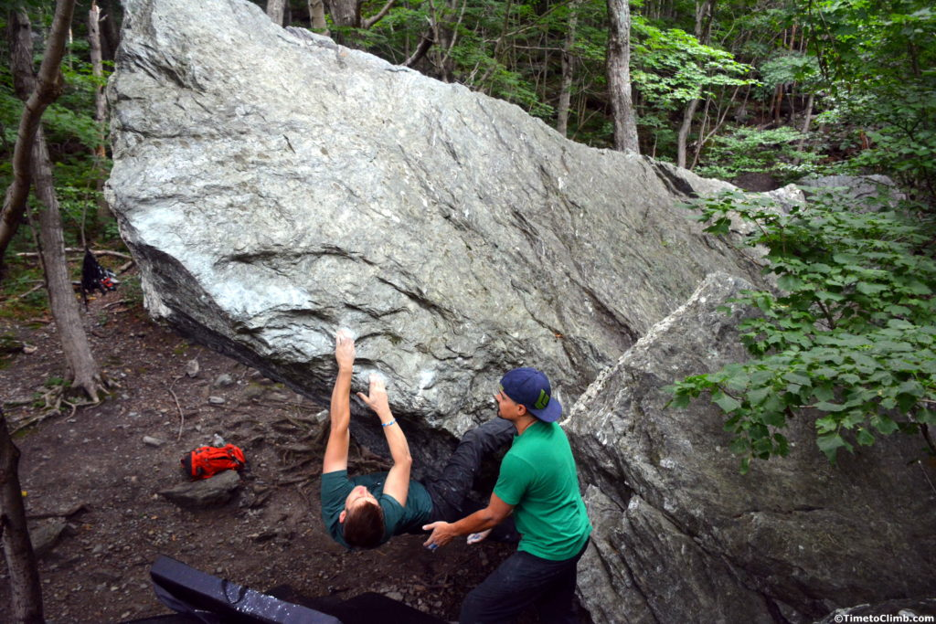 Andrew Messick Project the giant horn arete in Smuggler's Notch Vermont
