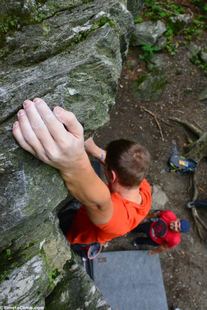 Chalky hand at the top of Workout Weenie V1 n Smuggler's Notch VT