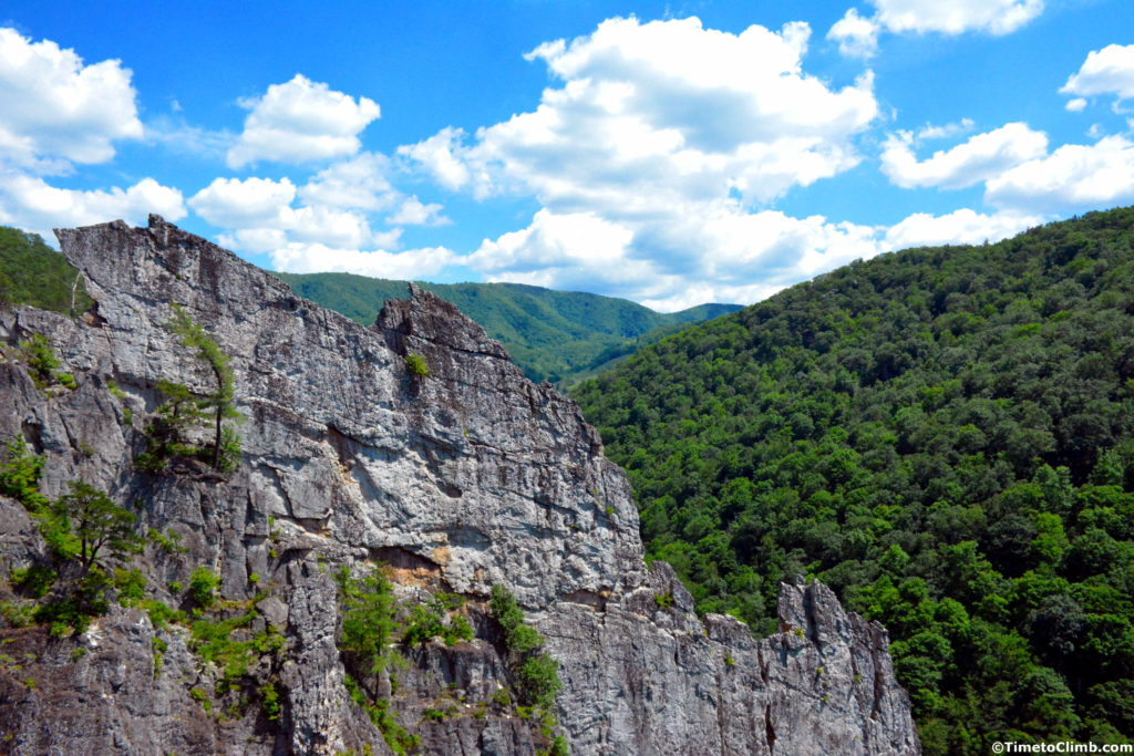 Fin edge in Nelson Rocks West Virginia