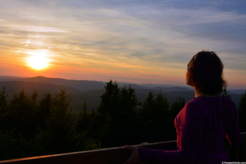Michele watching the sunset hiking Spruce Knob West Virginia