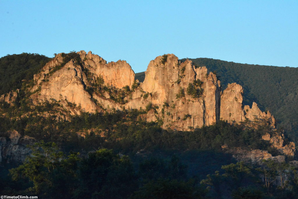 Sunset at Seneca Rocks climbing