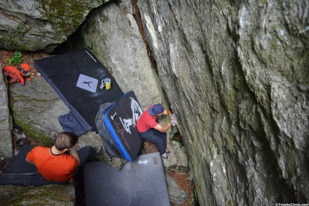 Setting up at hte Cave Boulders while boulering in Smuggler's Notch Vermont