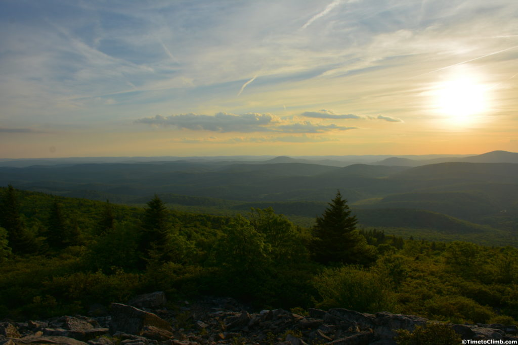 Sunset hiking Spruce Knob WV allegheny mountains