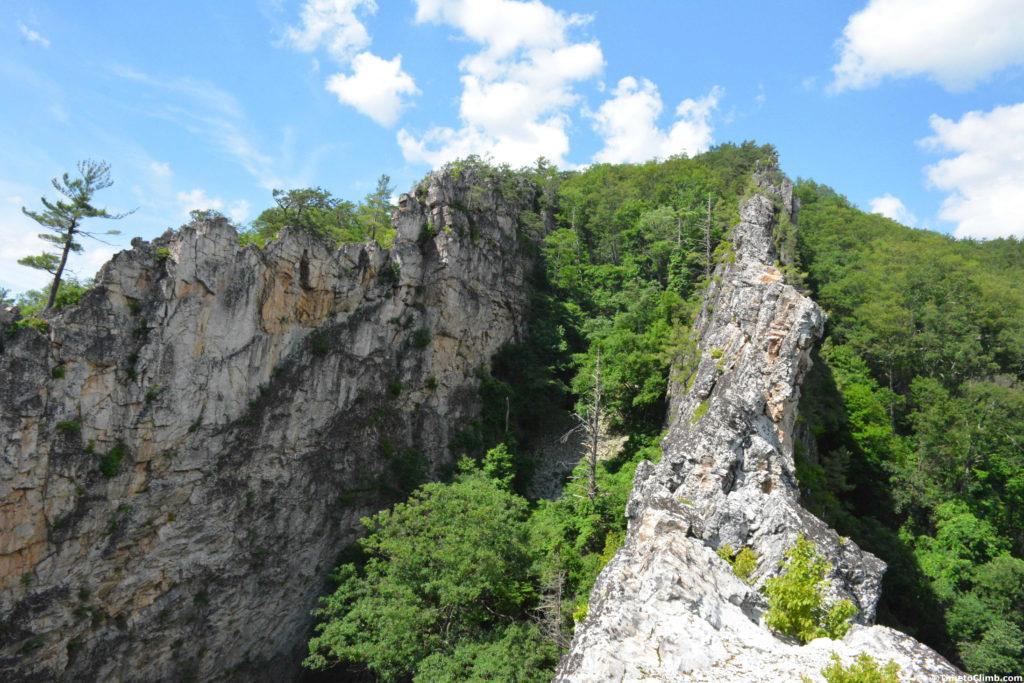 upper fins of the ridge in Nelson Rocks