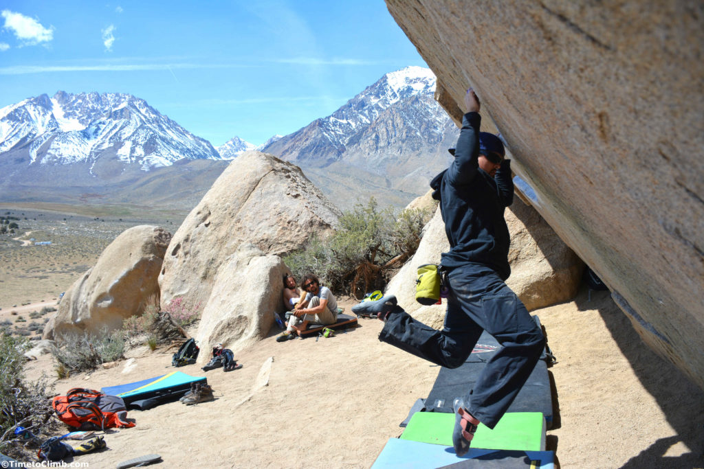 Melvin Rivera Iron Man V4 Buttermilks bouldering Bishop CA