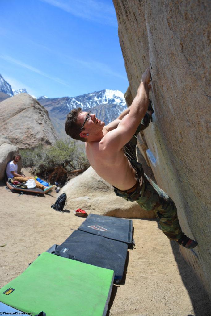 Brendan bouldering Iron Man Traverse